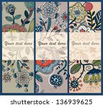 vector set of abstract floral... | Shutterstock .eps vector #136939625