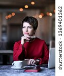business woman with laptop and...   Shutterstock . vector #1369401362