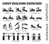 chest building exercises and... | Shutterstock .eps vector #1369419122