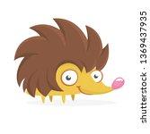 funny cartoon hedgehog.... | Shutterstock .eps vector #1369437935