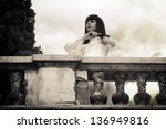 Horror scene - mystical woman - stock photo