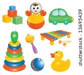 jpg version. baby toy icon set. ... | Shutterstock . vector #13695439