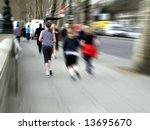 girl running on the street ... | Shutterstock . vector #13695670