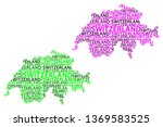 Sketch Switzerland letter text map, Swiss Confederation - in the shape of the continent, Map Switzerland (Helvetia)- green and purple vector illustration