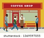front store coffeshop on the... | Shutterstock .eps vector #1369597055