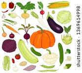 vector set of cartoon color... | Shutterstock .eps vector #1369614998