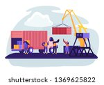Shipping Port With Harbor Crane ...