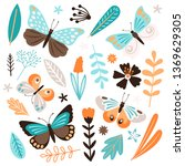 butterflies and floral elements ... | Shutterstock .eps vector #1369629305