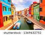 colorful houses in burano near... | Shutterstock . vector #1369632752