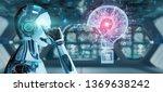 cyborg on blurred background...   Shutterstock . vector #1369638242
