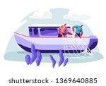 Fishermen Working On Fishery...