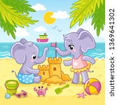 baby elephants are playing in... | Shutterstock .eps vector #1369641302