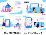online delivery service concept.... | Shutterstock .eps vector #1369646705