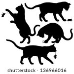 Stock vector four editable vector silhouettes of a cat playing with a mouse 136966016