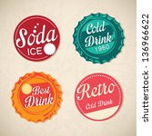 different retro icons on... | Shutterstock .eps vector #136966622