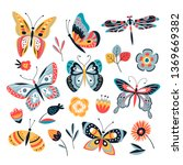 Stock vector color drawing butterfly butterflies moth and flowers vintage insects vector collection 1369669382