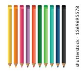seamless colored pencils row | Shutterstock .eps vector #1369695578