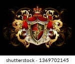 heraldic background with a red... | Shutterstock .eps vector #1369702145