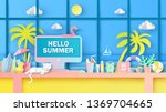 interior design for desk on... | Shutterstock .eps vector #1369704665