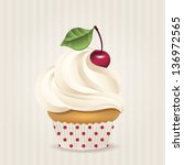 cute vector cherry cupcake on... | Shutterstock .eps vector #136972565