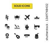 season icons set with crab ...