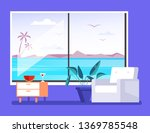 living hotel room with view on... | Shutterstock .eps vector #1369785548