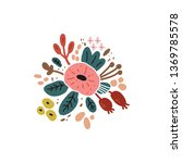 hand drawn flowers with... | Shutterstock .eps vector #1369785578