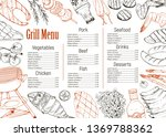 bbq and grill menu with sketch... | Shutterstock .eps vector #1369788362