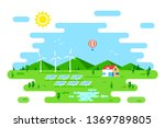 summer landscape with eco... | Shutterstock .eps vector #1369789805