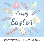 happy easter. illustration with ... | Shutterstock .eps vector #1369790522