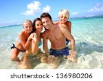 couple and children in crystal... | Shutterstock . vector #136980206