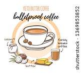bulletproof coffee. vector... | Shutterstock .eps vector #1369853852