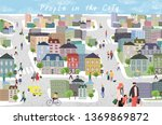 people in the city. cute...   Shutterstock .eps vector #1369869872