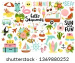 set of cute summer elements ... | Shutterstock .eps vector #1369880252