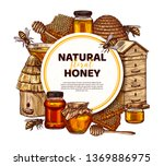 hand drawn vector honey... | Shutterstock .eps vector #1369886975