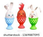 three cheerful friends. white... | Shutterstock .eps vector #1369887095
