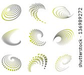 set of nine abstract wave icons ... | Shutterstock .eps vector #136989272