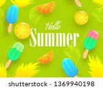 colorful ice creams and lemon...   Shutterstock .eps vector #1369940198
