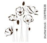 poppy design  flowers contour... | Shutterstock .eps vector #136998638