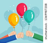 bunch of helium balloon in hand ... | Shutterstock .eps vector #1369987208