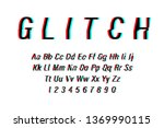 glitch font on white background.... | Shutterstock .eps vector #1369990115