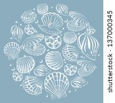 seashell round design element | Shutterstock .eps vector #137000345