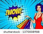 vintage pop art girl shopping.... | Shutterstock .eps vector #1370008988