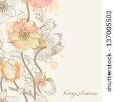 anemone  background  vintage ...   Shutterstock .eps vector #137005502