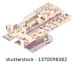 vector isometric hotel interior ... | Shutterstock .eps vector #1370098382