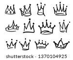 hand drawn crowns logo set... | Shutterstock .eps vector #1370104925