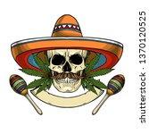 hand drawn sketch  color skull... | Shutterstock .eps vector #1370120525