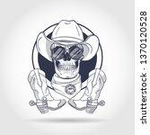 sketch  skull with cowboy hat ... | Shutterstock .eps vector #1370120528