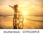 happiness woman traveler with... | Shutterstock . vector #1370126915