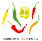 various peppers in flat style... | Shutterstock .eps vector #1370129312